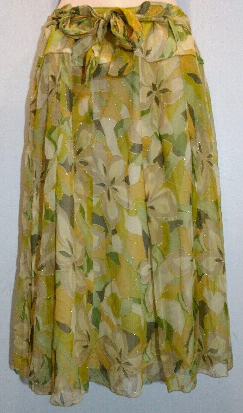 Melanie Lyne blanc Nygard femmes Silk jupe Taille 10 Floral Pattern NWT  110
