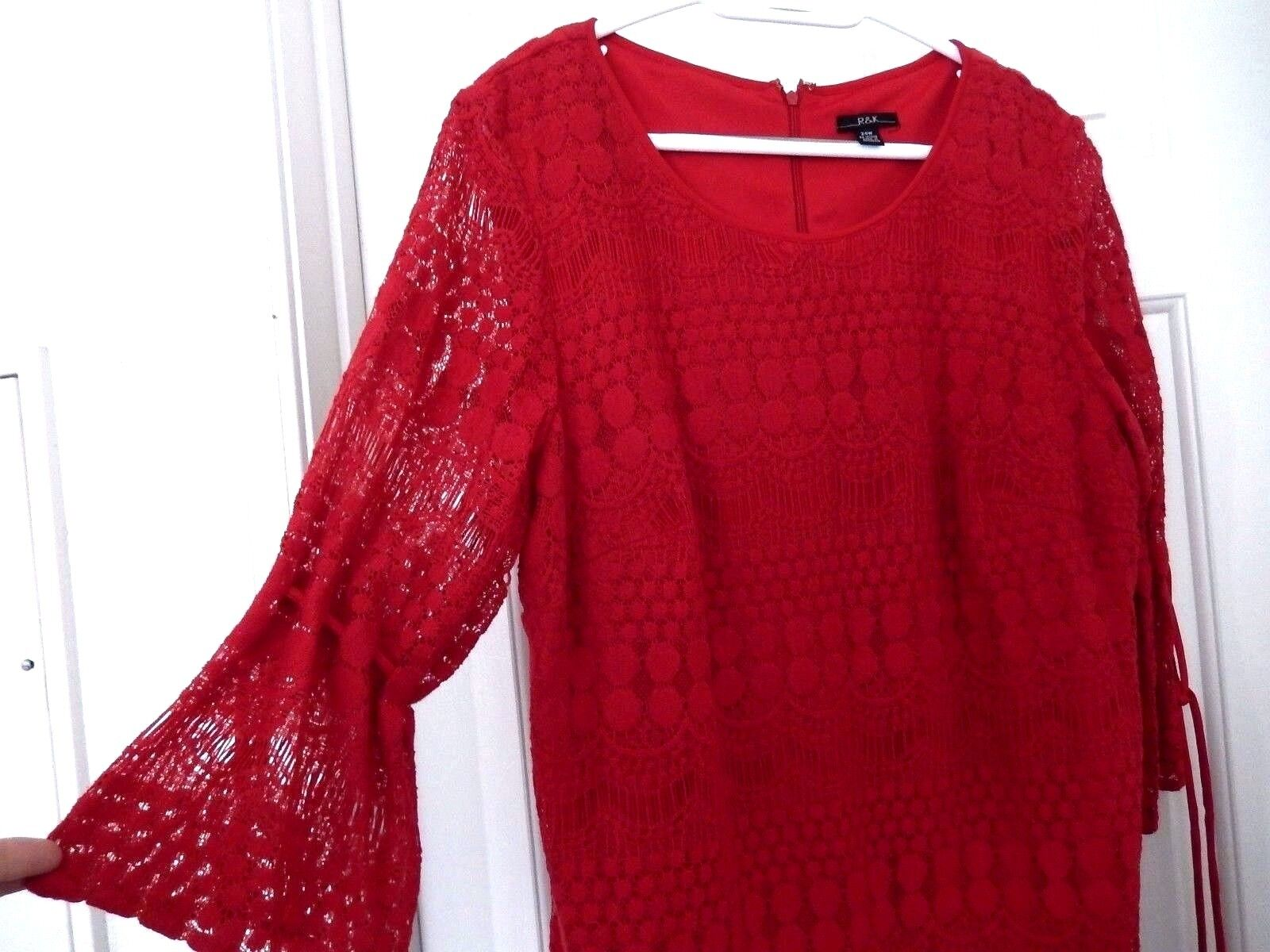 R & K Lace Layer Dress-24W, red  WOW pretty lace detailing    NWT