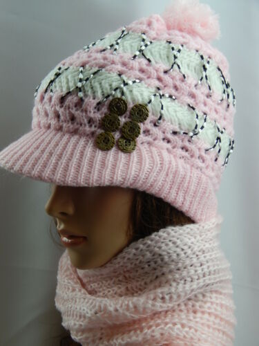 LADY WOMEN FASHION KNITTED WOOLY WINTER WARM HAT /& SCARF WITH BUTTON DIFF COLOR
