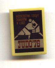 Polish plastic pin button - Junior Judo European Championship Łódź 1976 badge
