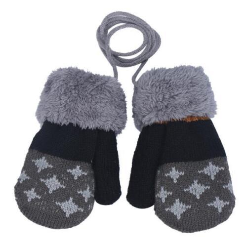 Winter Warm Newborn Baby Boy Girl Thick Fur Gloves Mittens with Neck String AB