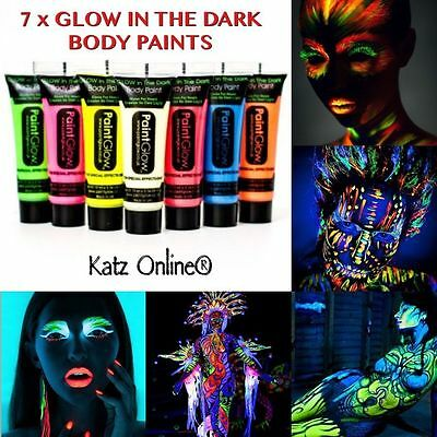 7 x GLOW IN THE DARK Neon Face & Body Paint 10ml SET Of 7 Fluorescent WAX BASED