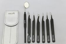 Eyelash extension Black Matte tweezer kit set