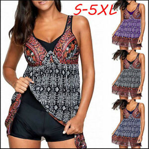 a81b8e416f Womens Plus Size Two Piece Swimsuit Print Swimsuit Bathing Beachwear ...