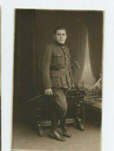 Vintage-RPPC-Military-Man-WWI-Cavalry-Riding-Crop