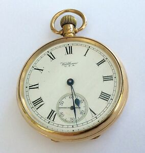 1924-Full-Size-Antique-Solid-9ct-Gold-Waltham-Pocket-Watch-83-6-Grams