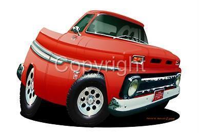 1964 PICKUP TRUCK  CARTOON REPLICA T-SHIRT #6737 C10 automotive hauler art