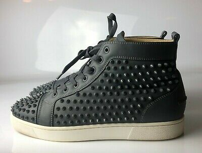 on sale 0b7b6 02603 Christian Louboutin Louis Orlato Flat High Top Spike Gray Sneakers Eu 45 US  12 | eBay