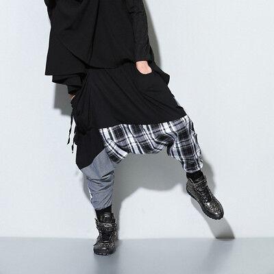 Men Women Splice Harem Baggy Sweat Pants Alibaba Drop Crotch Trousers Hippie