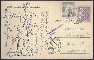 s1664-Osterreich-Autogrammkarte-Fussball-Ost-Europapokal-vs-Tschechien-1955