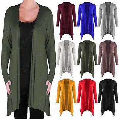 New Ladies Waterfall Asymmetric Long Open Cardigan Womens Jersey Long Sleeve Top