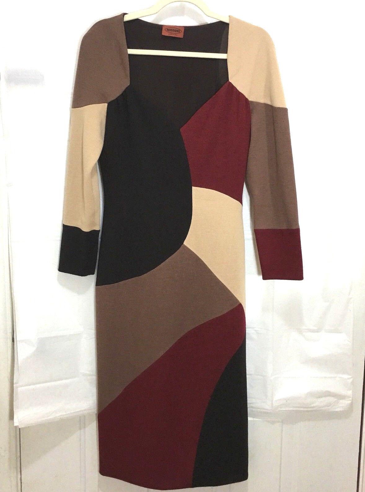 MISSONI  Orange tag burgundy braun tan Knit Dress Größe 44 8 sweetheart long
