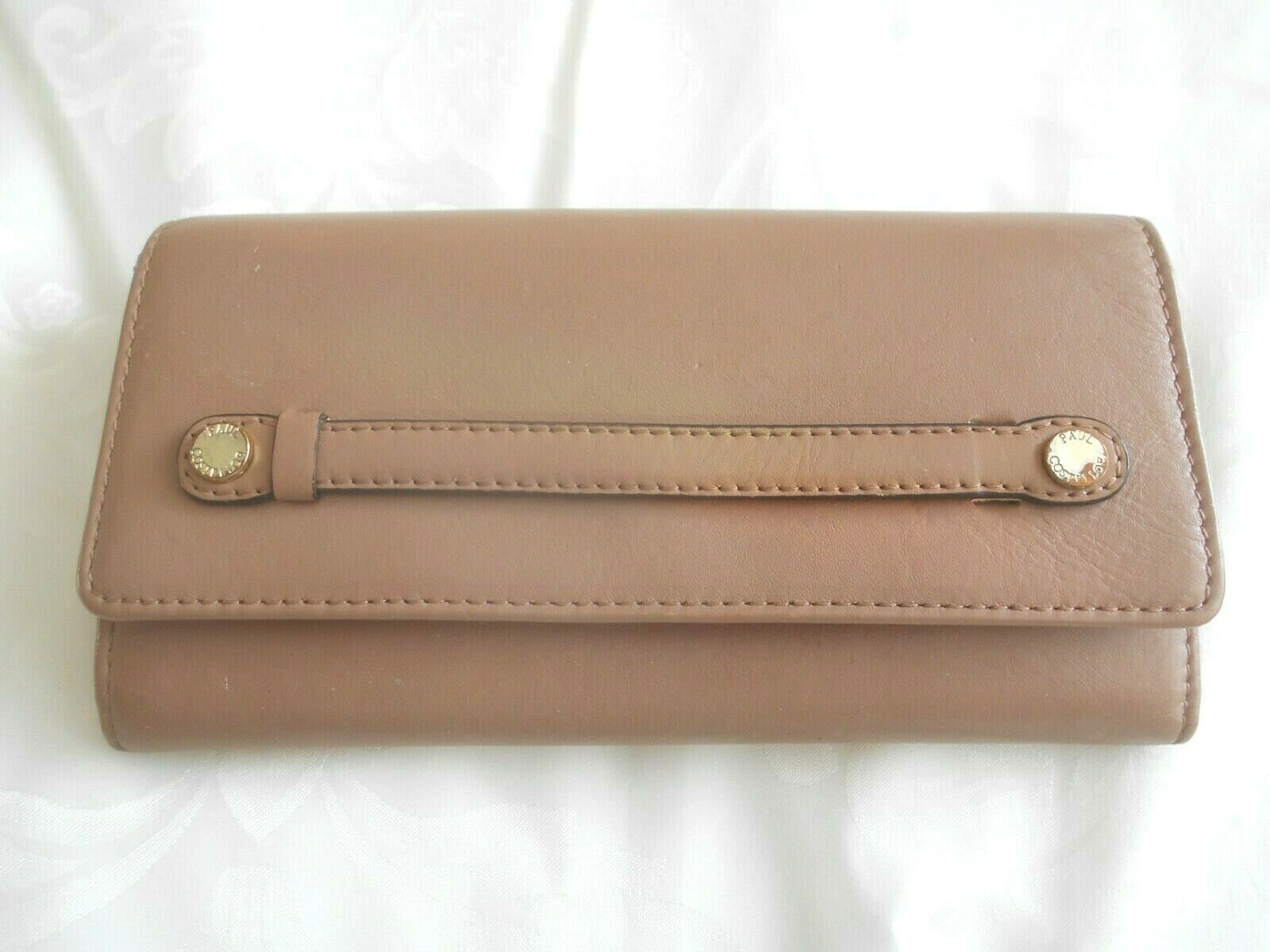 """""""Paul Costelloe"""" Designer Large Taupe Real Leather Matinee Purse!!!"""