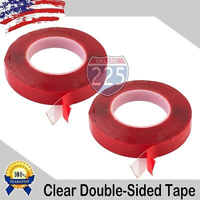 "12 Rolls Adhesive Double-sided Tape Clear 1//8/"" wide 60 Yards Pressure Sensitive"