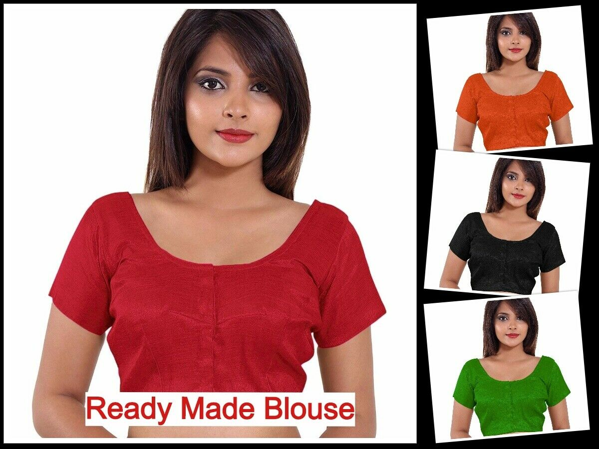 Traditional Banglori Silk Blouse Wedding Wear Ready Made Open Huk blouse RB-1