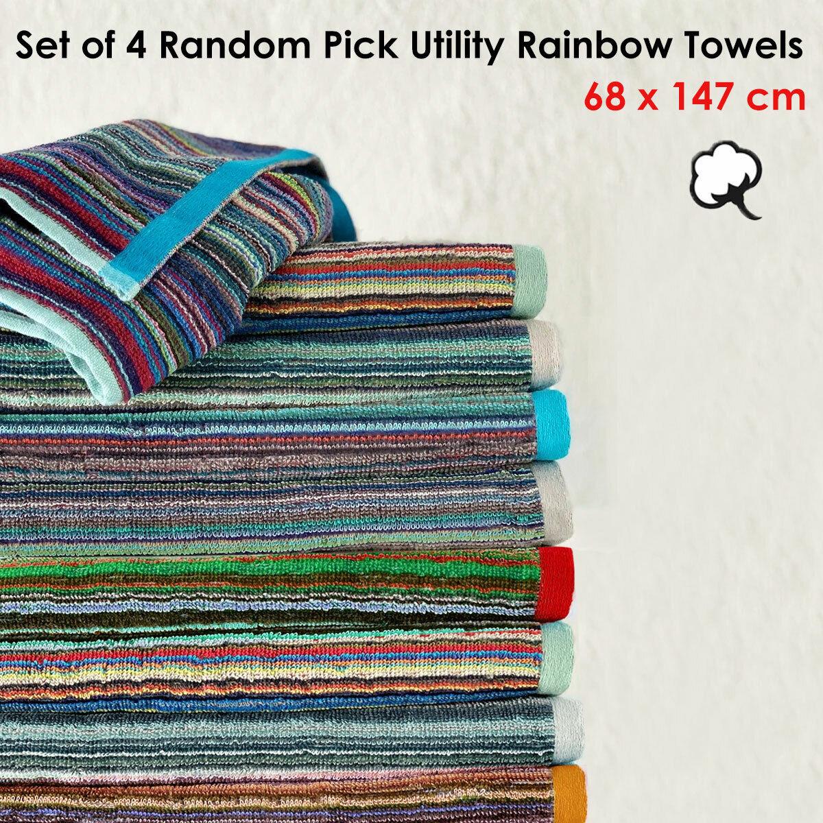 Set of 4 Random Pick Colours Utility 100% Cotton Towels 68 x 147 cm by J Elli...