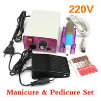 Pro 220V Electric Nail Art File Drill Acrylic Manicure Pedicure Machine Tool Kit