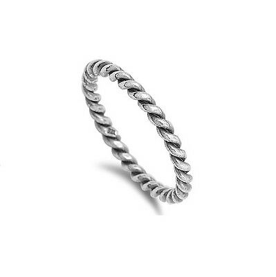925 Sterling SILVER Oxidized Twisted Rope Woven Band Ring 2mm Unisex Stackable