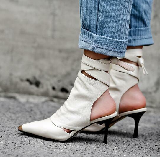 in linea donna Pointed Toe Lace Up High High High Heel Ankle stivali Sandals scarpe Slingback Strapy  consegna diretta e rapida in fabbrica