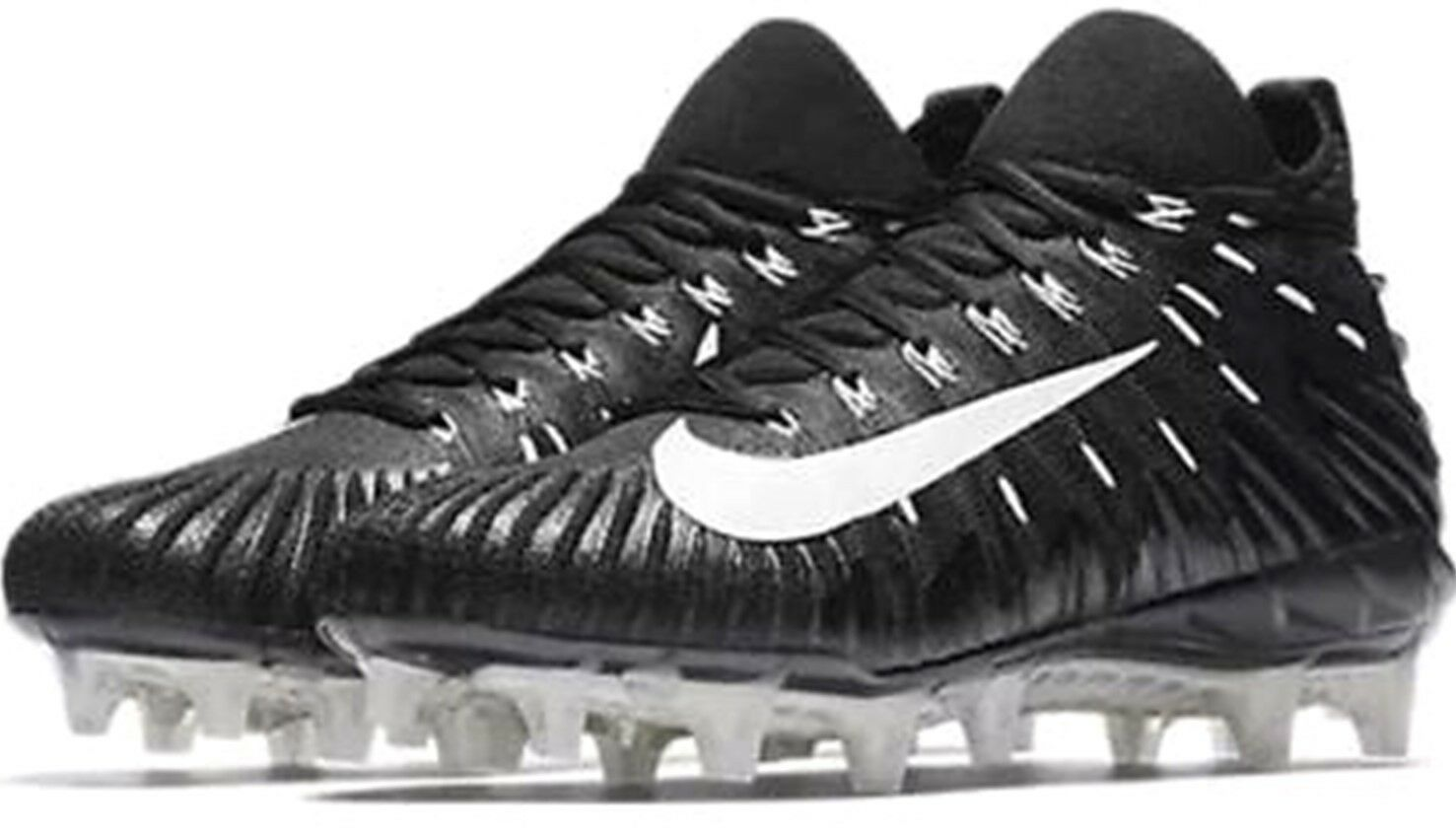 NEW $140 Nike ALPHA MENACE ELITE sz 10.5 BLACK White Football Shoes Cleats