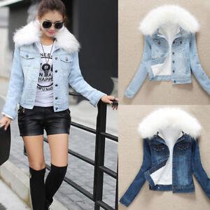 Fleece Lining Sherpa Denim Jacket Women Blue Faux Fur Collar Top