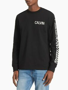 NWT-CALVIN-KLEIN-AUTHENTIC-MEN-039-S-SLIM-FIT-CHECK-LOGO-BLACK-LONG-SLEEVE-T-SHIRT