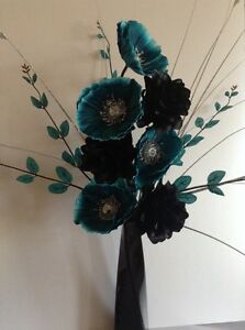 Artificial silk flower arrangement in teal poppies and black flowers image is loading artificial silk flower arrangement in teal poppies and mightylinksfo