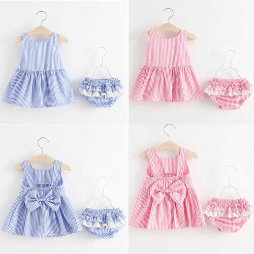 UK Toddler Kid Baby Girl Summer Bow Tutu Princess Dress Tops+PP Pants Outfit Set