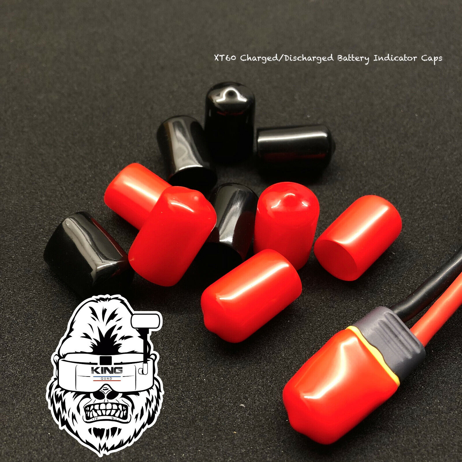 XT60 Charged/Discharged Battery Indicator Caps (Black/Red)