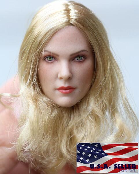 1 6 American European Female Head Blonde Blonde Blonde Hair For PALE Phicen TBLeague Figure 767c3c