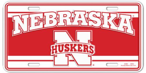 New Nebraska  Huskers  License Plate NCAA stripe
