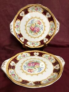 Two-Royal-Albert-Bone-China-034-Lady-Hamilton-034-9-034-Serving-Platters-with-034-Ears-034