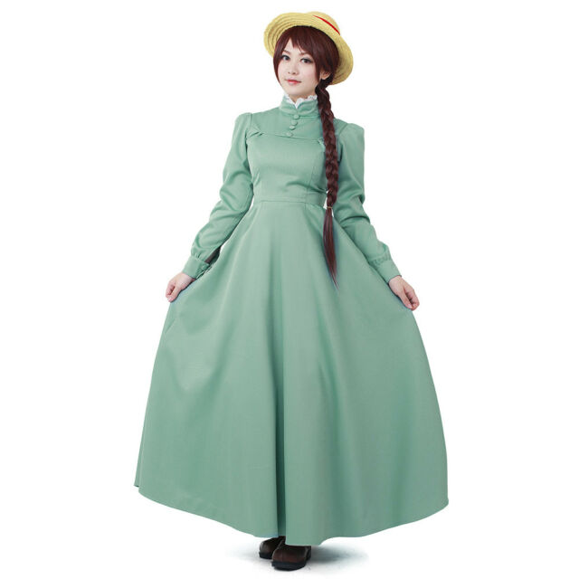 Sophie Hatter Costume Howl/'s Moving Castle Cosplay Blue Dress Anime Lolita Maid