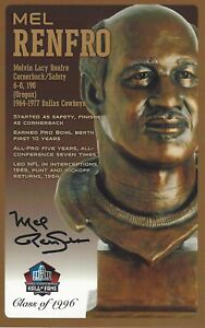Mel Renfro Dallas Cowboys  Football Hall Of Fame Autographed Bust Card