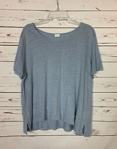 Poetry Women's Size 16 100% Linen Blue Short Sleeve Lagenlook Spring Top Blouse