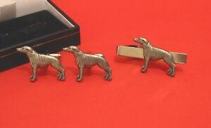 Border Collie Motif Cuff-Link /& Tie Clip Set Man/'s Gift Dad Border Collie Gift