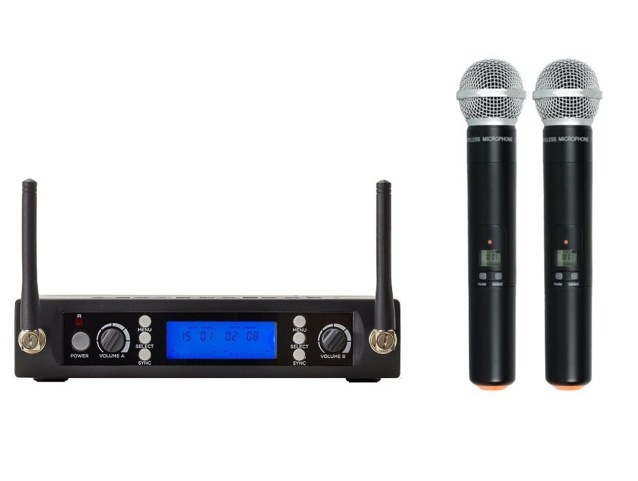 UHF Cordless Handheld Microphone Dual Microphone Wireless Syster For Shure