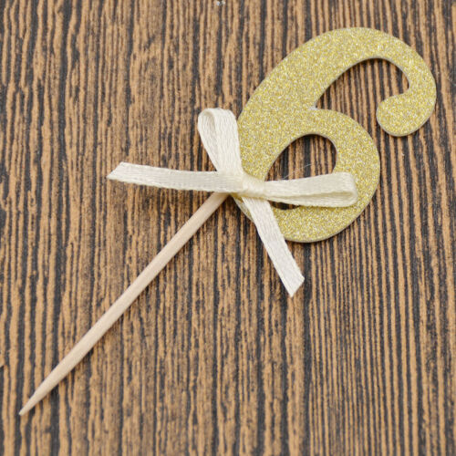Sweet Gold Silver Paper Cake Topper Number Birthday Wedding Xmas Party Decor
