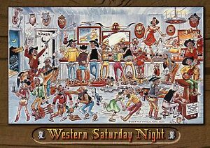 Western saturday night cowboy bar in wild west funny comic cartoon postcard ebay - Wild west funny ...