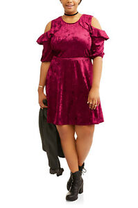 d54e4b40a52 NWT SEXY Velvet Burgundy Open Shoulder Clubbing Mini Dress Plus Size ...