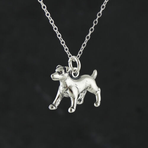 925 Sterling Silver Jack Russell Terrier Dog Necklace 3D Charm Dogs Pets NEW