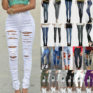 Womens High Waisted Ripped Slim Skinny Jeans Frayed Stretchy Denim Pencil Pants