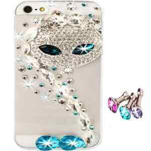NEW-3D-BLING-COOL-CAT-CLEAR-DELUX-DIAMANTE-SPARKLE-CASE-COVER-FOR-IPHONE-5-5S-UK