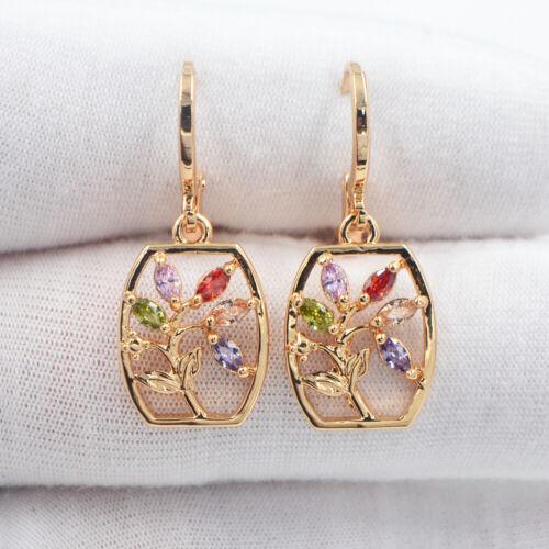 18K or jaune rempli rainbow Topaz Creux Out Fleur Vase Dangle Earrings