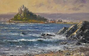 Richard-Blowey-Original-Oil-Painting-St-Michael-039-s-Mount-Cornwall-Cornish-Art