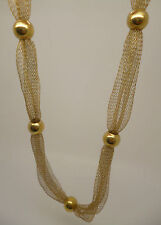 Gold plated sterling silver mesh and bead necklace, 925 stamp & extender chain