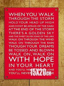 Dekoration Metal Sign Liverpool Football Chant You Ll Never Walk Alone Door Wall Plaque Canadiana Cz