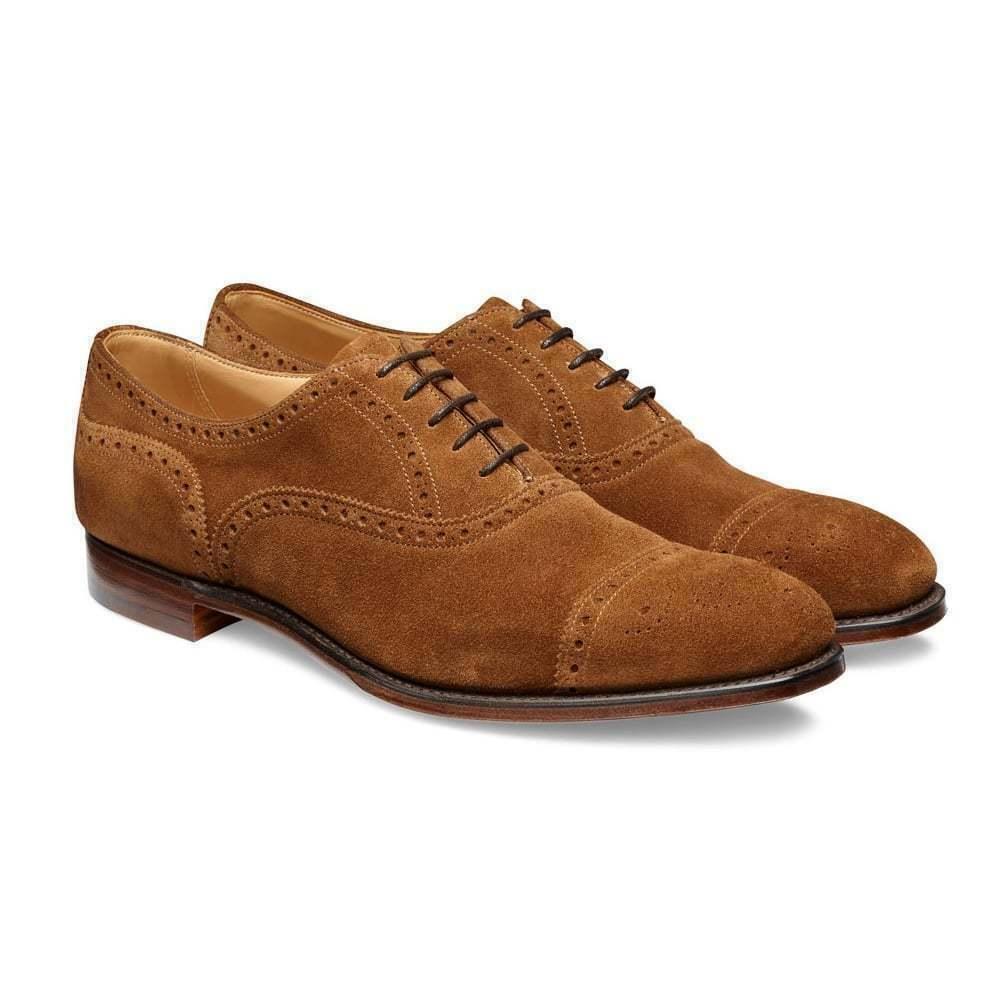 Hecha a mano Camel serraje dedos de los pies capuchón Oxford wingtip Lace up zapatos para hombre