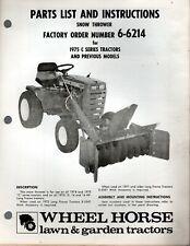 Vintage Wheel Horse Parts List Amp Instructions Snow Thrower Model 6 6214 C Series