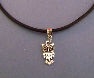 Black-Leather-Choker-Necklace-with-Silver-Owl-Charm-New-UK-Seller
